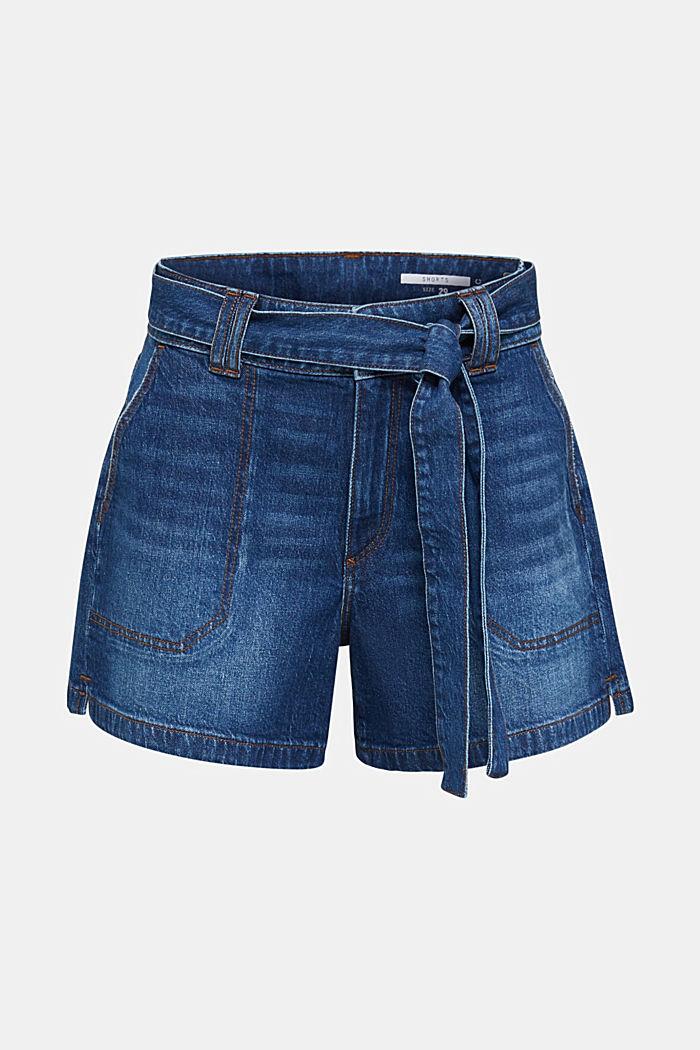 Denim shorts with a belt, BLUE DARK WASHED, detail image number 7