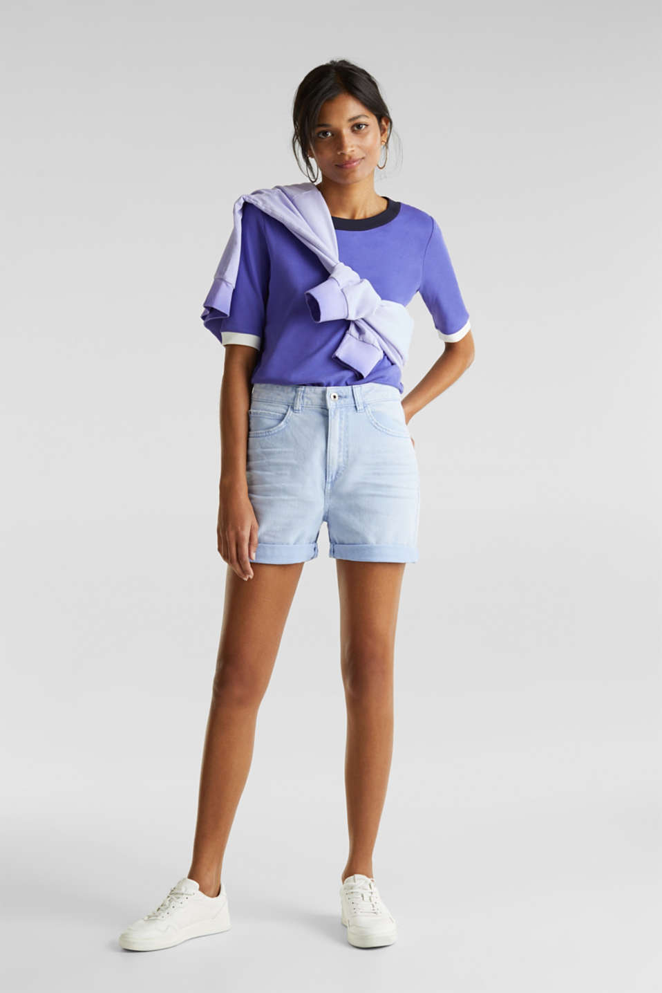 Stretch cotton shorts, BLUE LAVENDER, detail image number 1