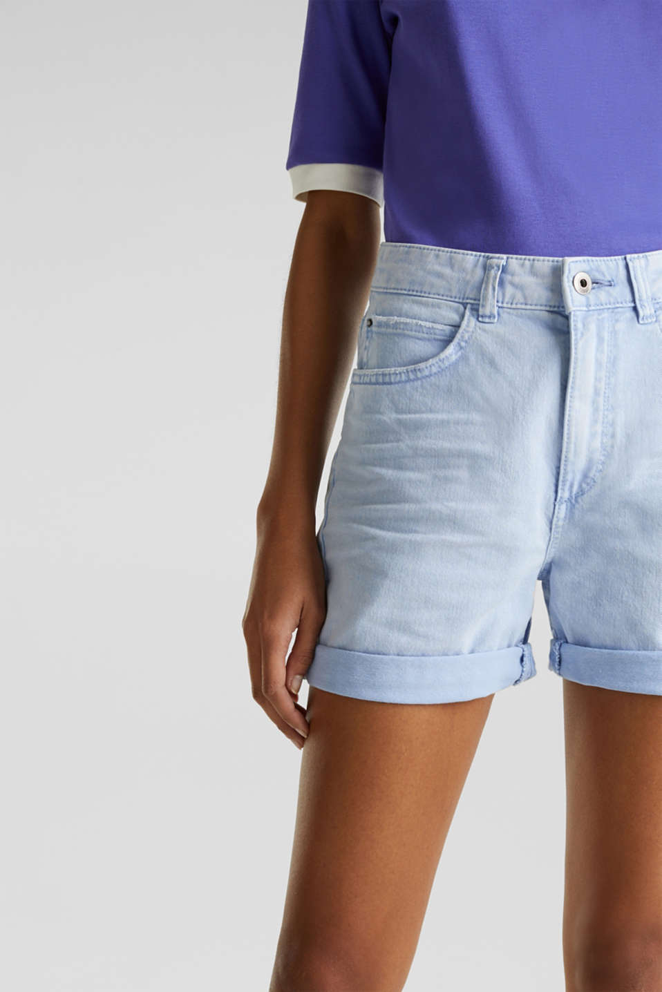Stretch cotton shorts, BLUE LAVENDER, detail image number 2