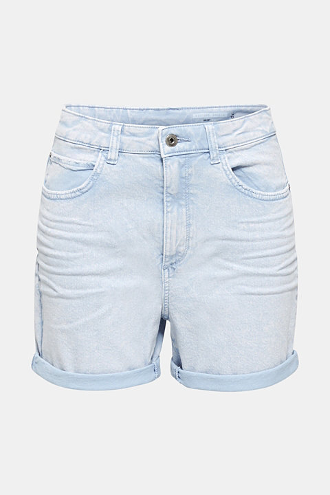 Woven acid-washed shorts, organic cotton