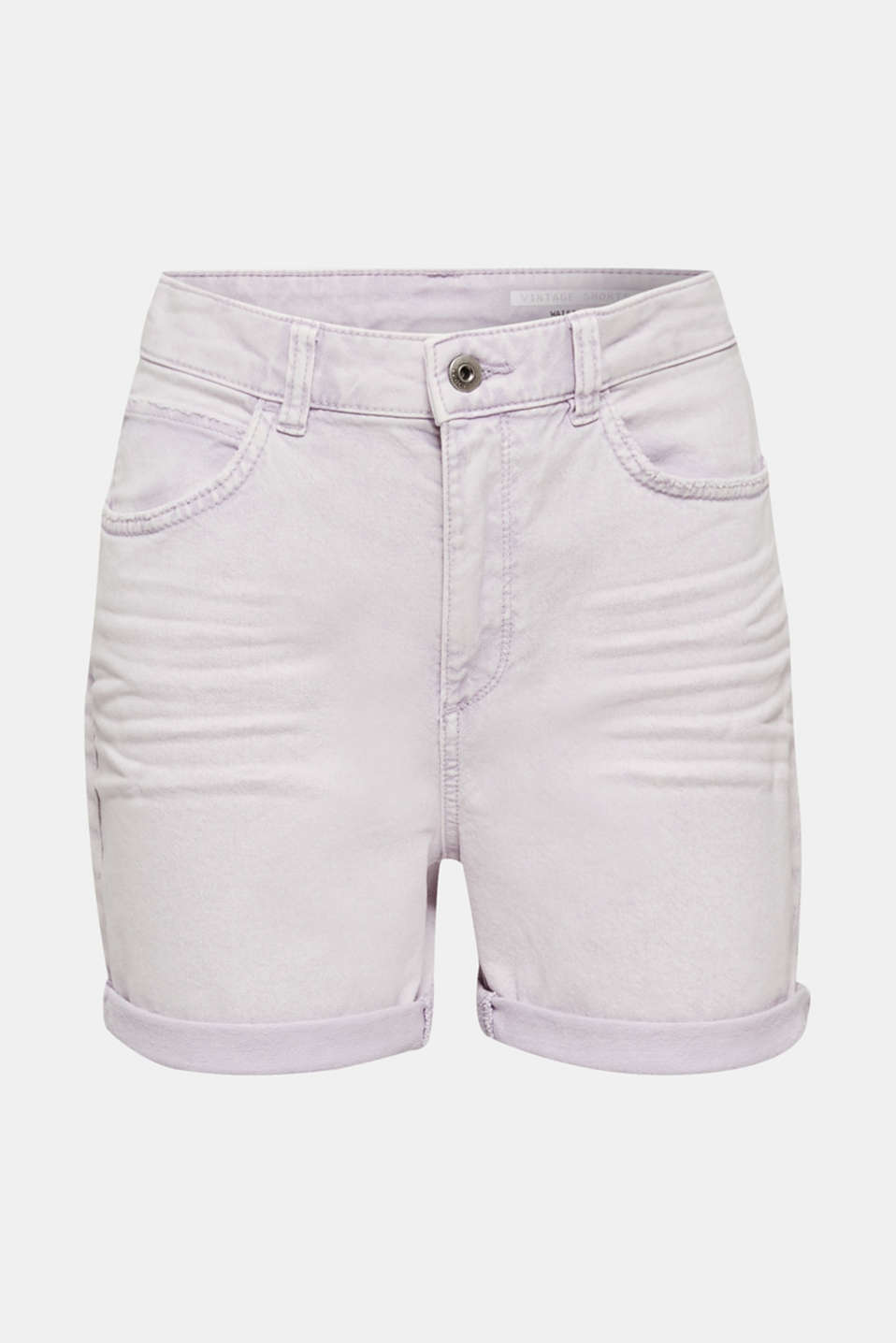 Woven acid-washed shorts, organic cotton, LILAC, detail image number 7