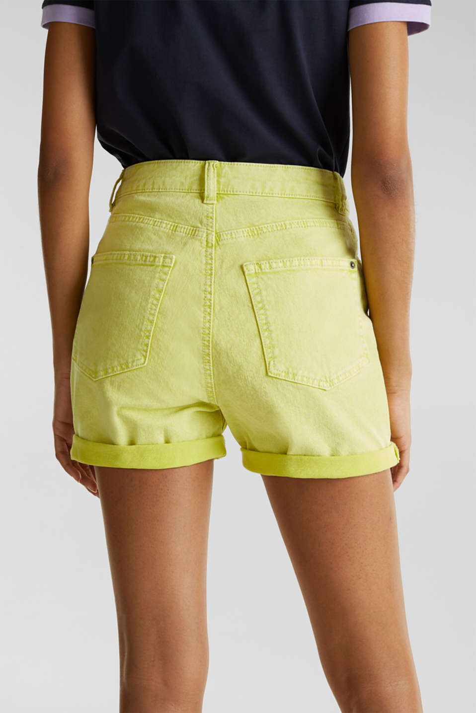 Woven acid-washed shorts, organic cotton, LIME YELLOW, detail image number 5