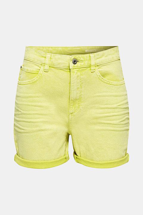 Woven acid-washed shorts, organic cotton