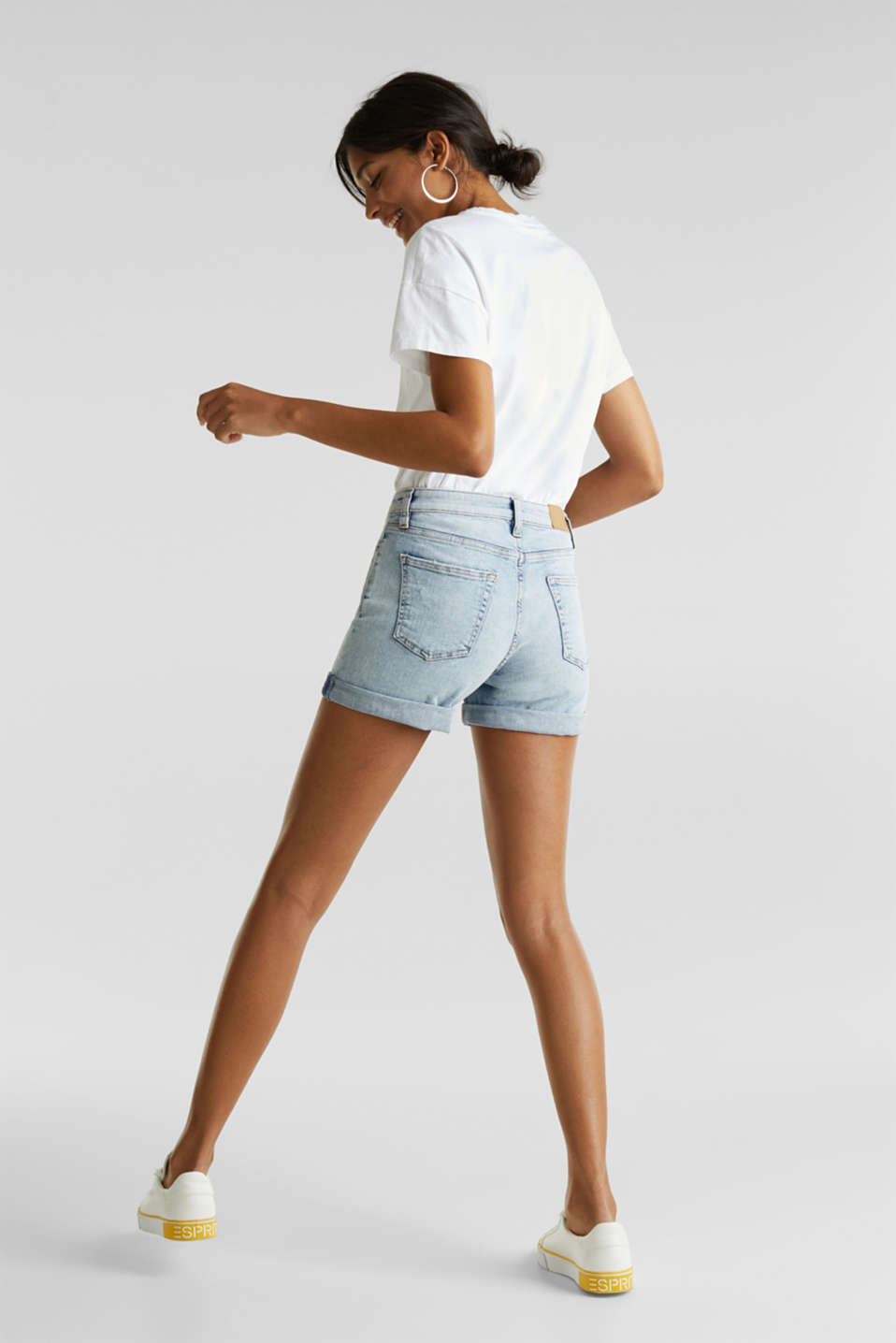 Denim shorts with organic cotton, BLUE BLEACHED, detail image number 3