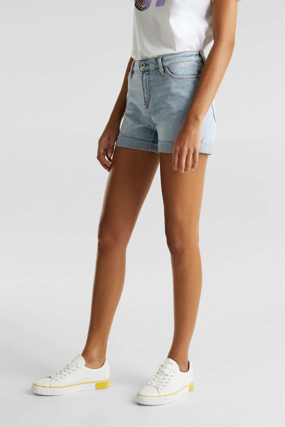 Denim shorts with organic cotton, BLUE BLEACHED, detail image number 6
