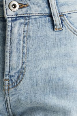Denim shorts with organic cotton, BLUE BLEACHED, detail
