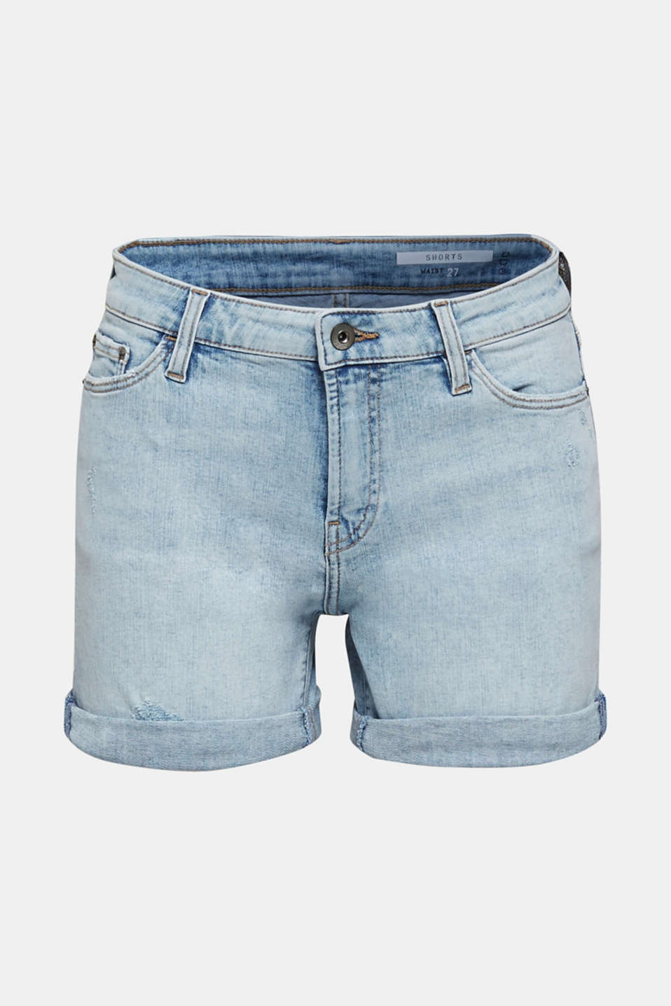 Denim shorts with organic cotton, BLUE BLEACHED, detail image number 7