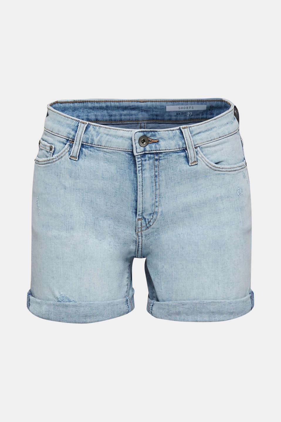 Stretch denim shorts, BLUE BLEACHED, detail image number 7