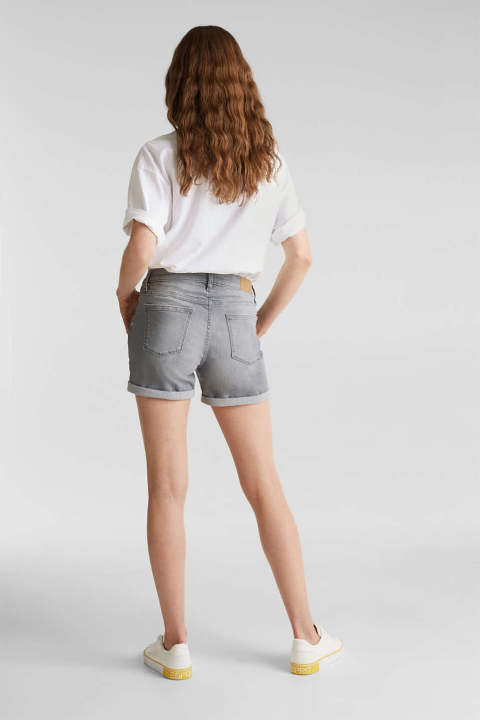 Super stretch denim shorts with vintage effects, GREY LIGHT WASH, detail image number 3