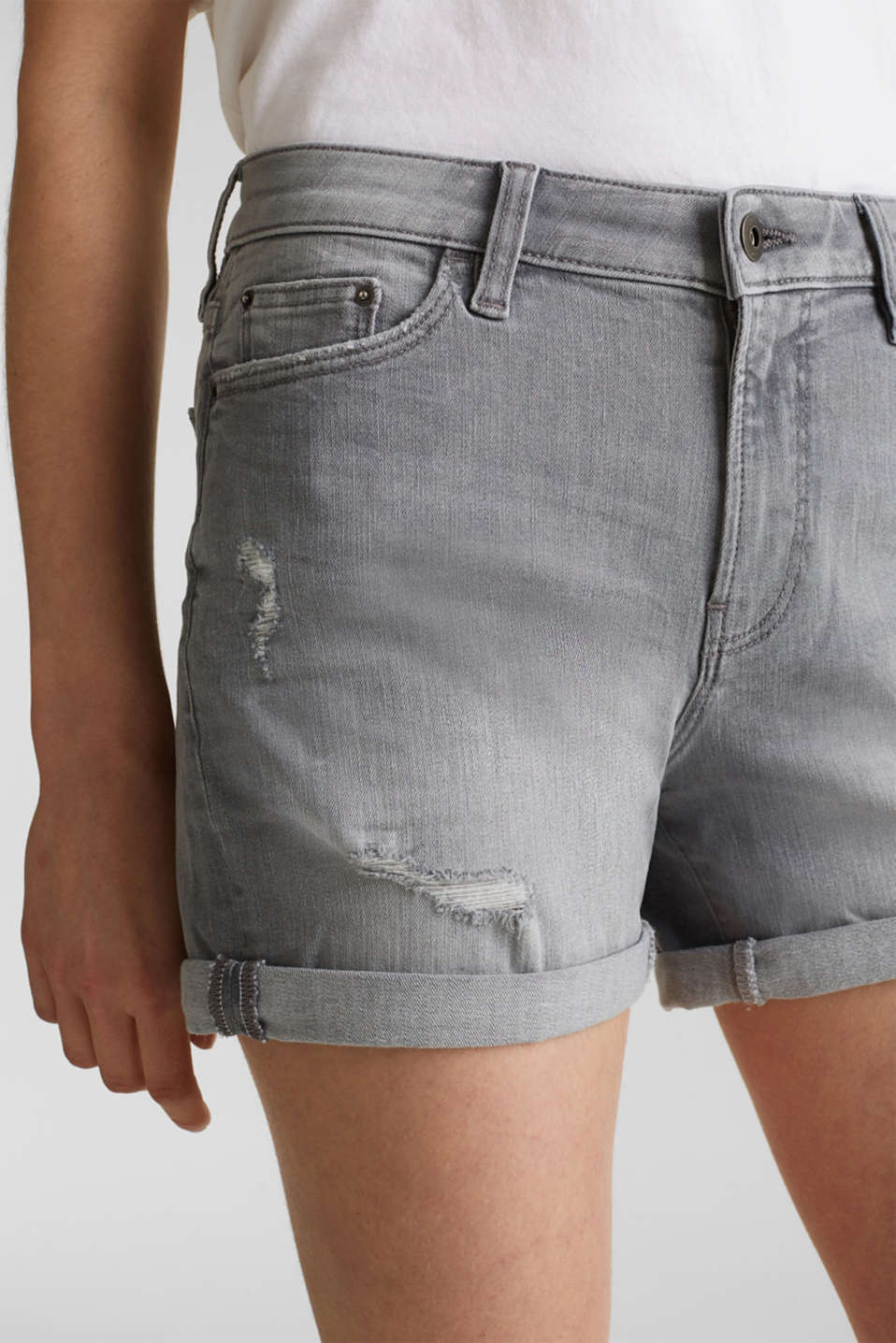 Super stretch denim shorts with vintage effects, GREY LIGHT WASH, detail image number 2