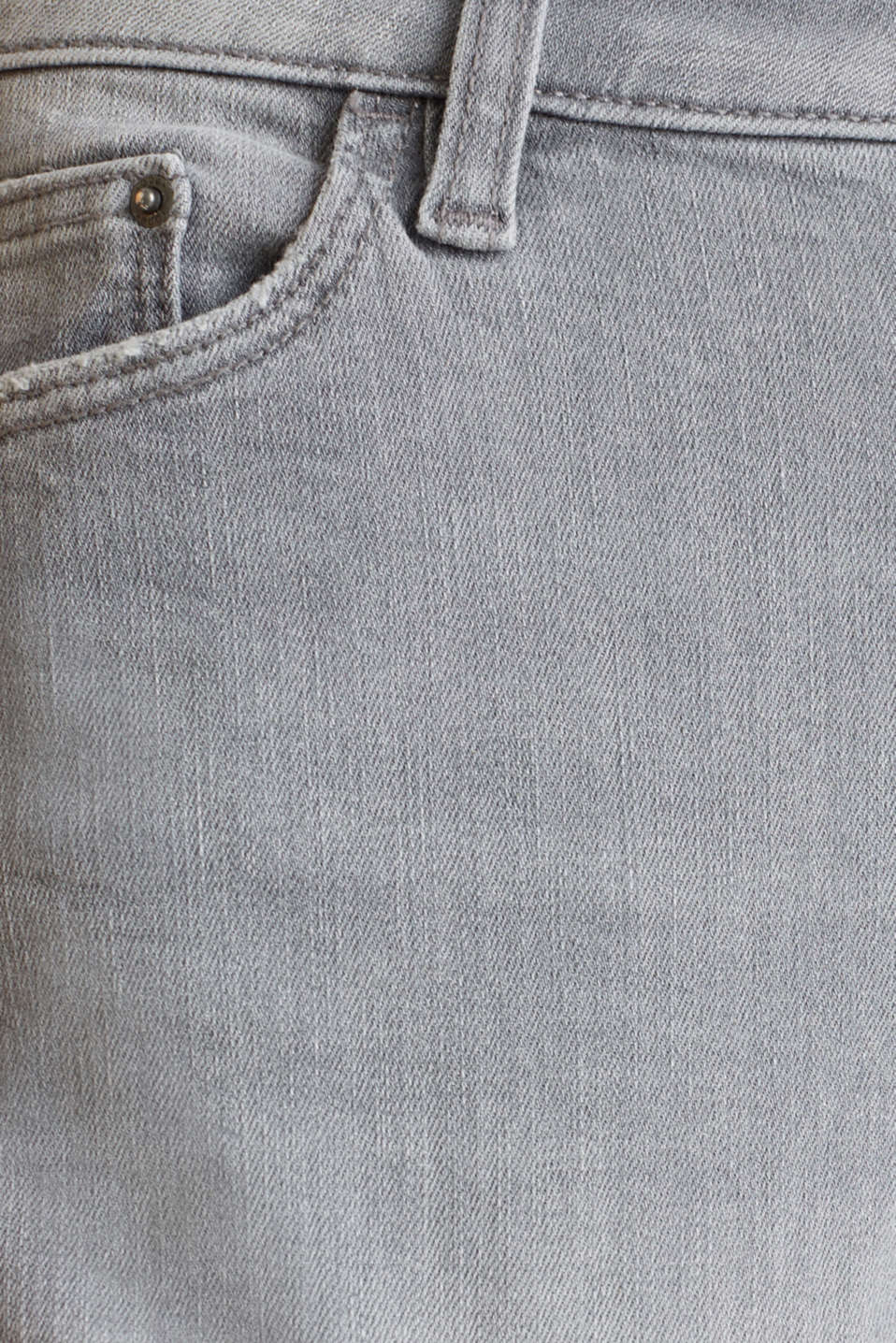 Super stretch denim shorts with vintage effects, GREY LIGHT WASH, detail image number 4