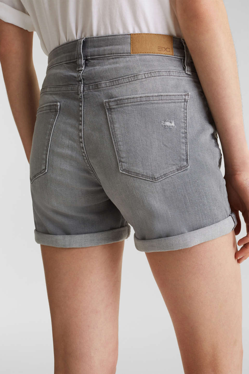 Super stretch denim shorts with vintage effects, GREY LIGHT WASH, detail image number 5