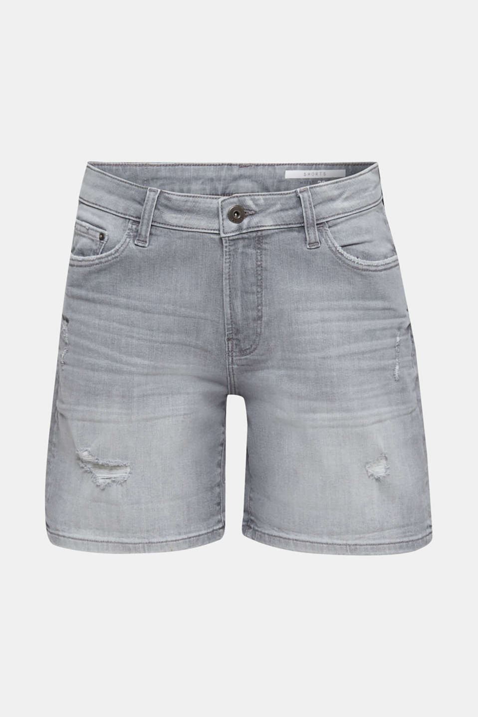 Super stretch denim shorts with vintage effects, GREY LIGHT WASH, detail image number 7