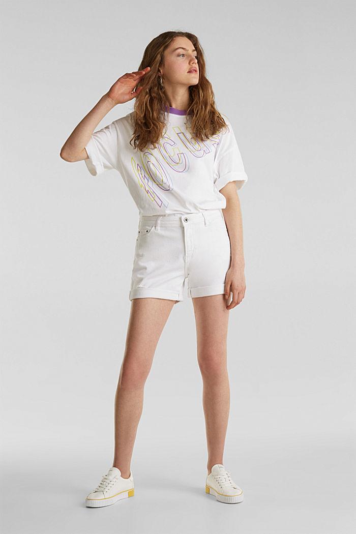 Stretch denim shorts, WHITE, detail image number 0