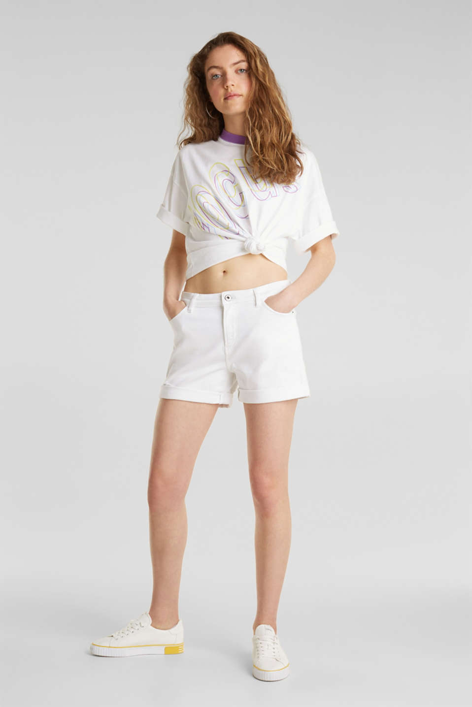 Stretch denim shorts, WHITE, detail image number 1