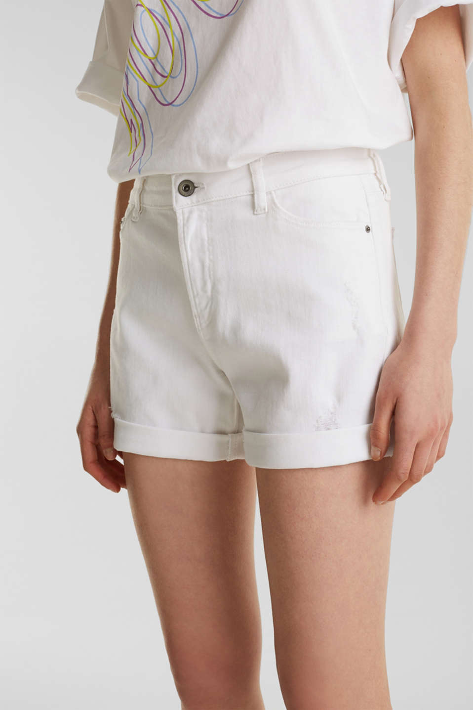 Stretch denim shorts, WHITE, detail image number 2