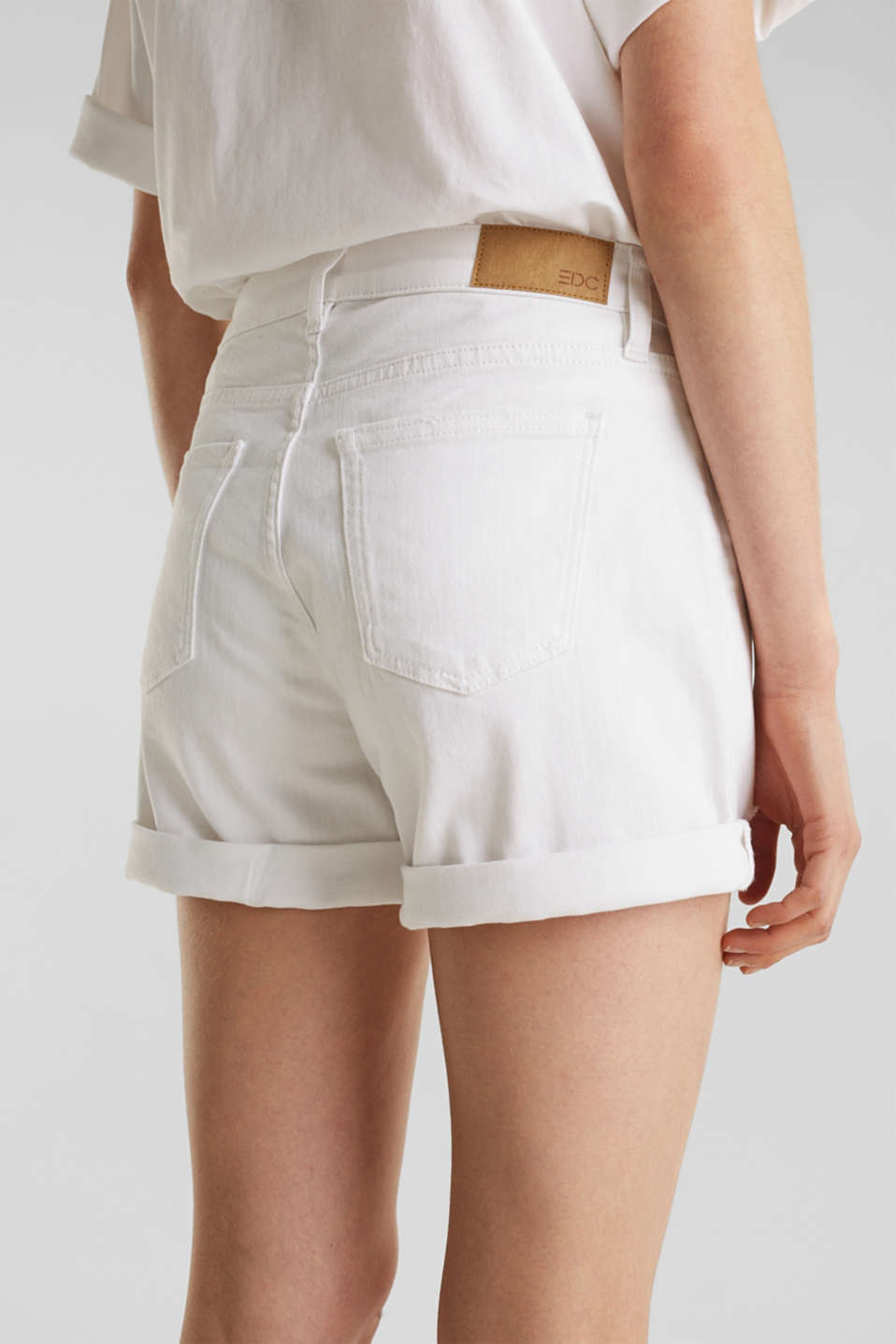 Stretch denim shorts, WHITE, detail image number 5