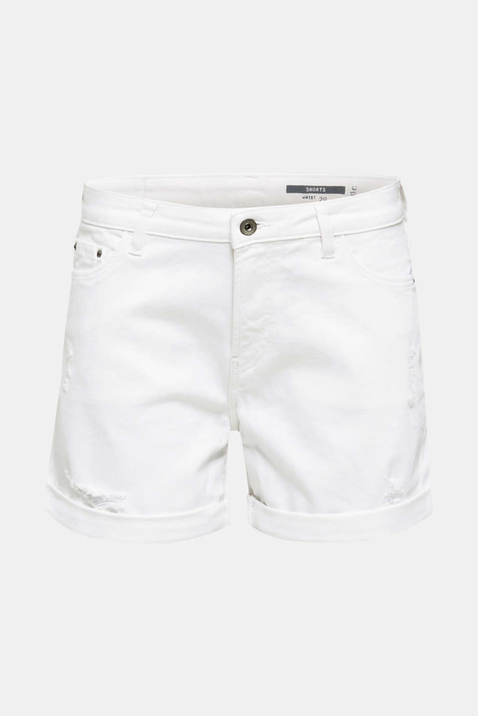 Stretch denim shorts, WHITE, detail image number 7