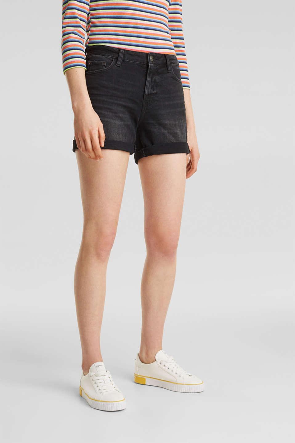 Black denim shorts with a vintage finish, BLACK DARK WASH, detail image number 6