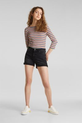 Black denim shorts with a vintage finish, BLACK DARK WASH, detail