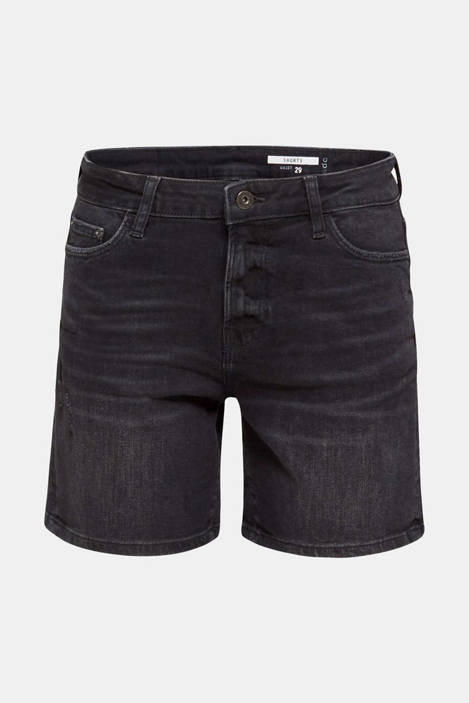 Black denim shorts with a vintage finish, BLACK DARK WASH, detail image number 7