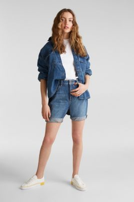 Denim Bermudas with frayed hems, BLUE DARK WASH, detail