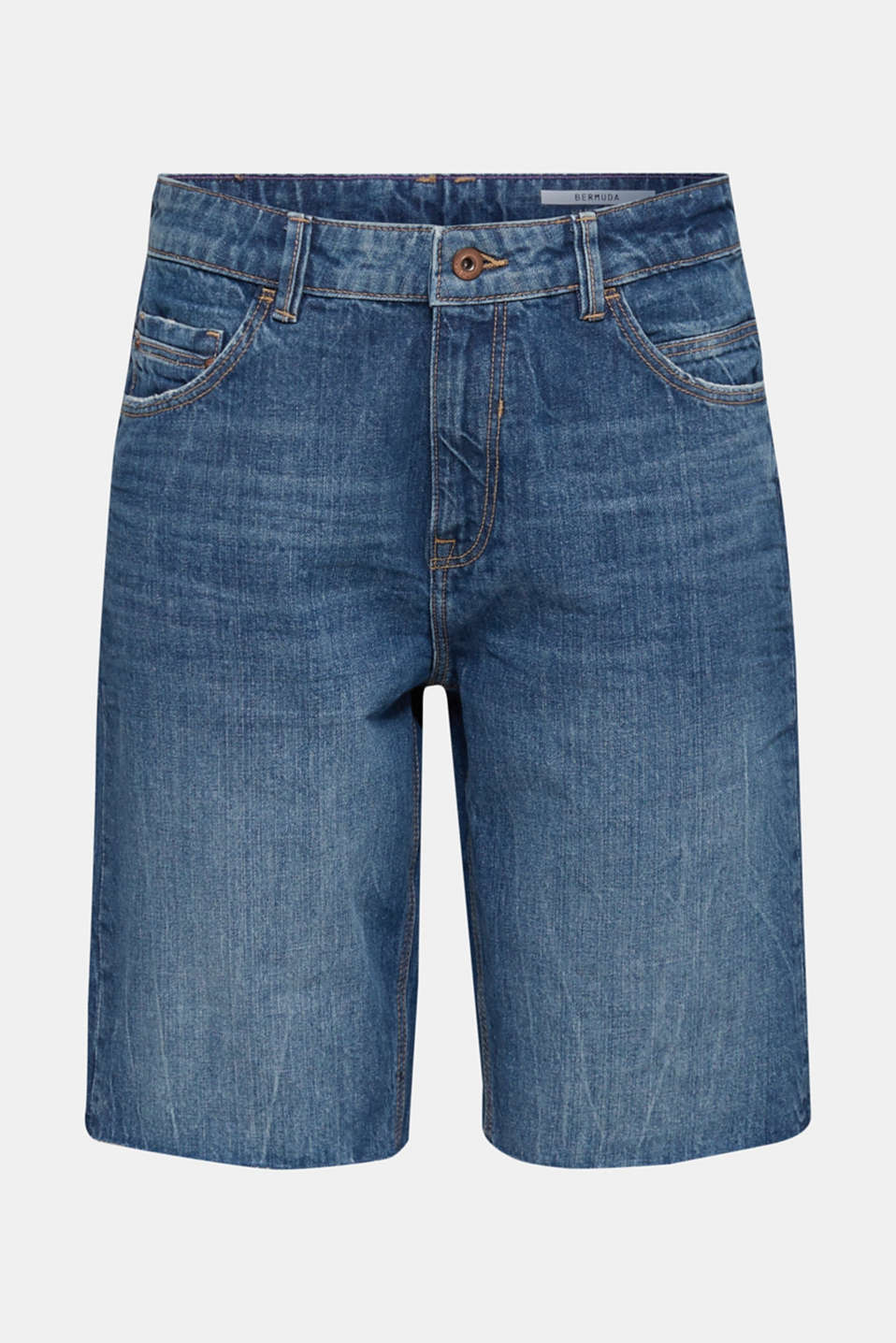 Denim Bermudas with frayed hems, BLUE DARK WASH, detail image number 7