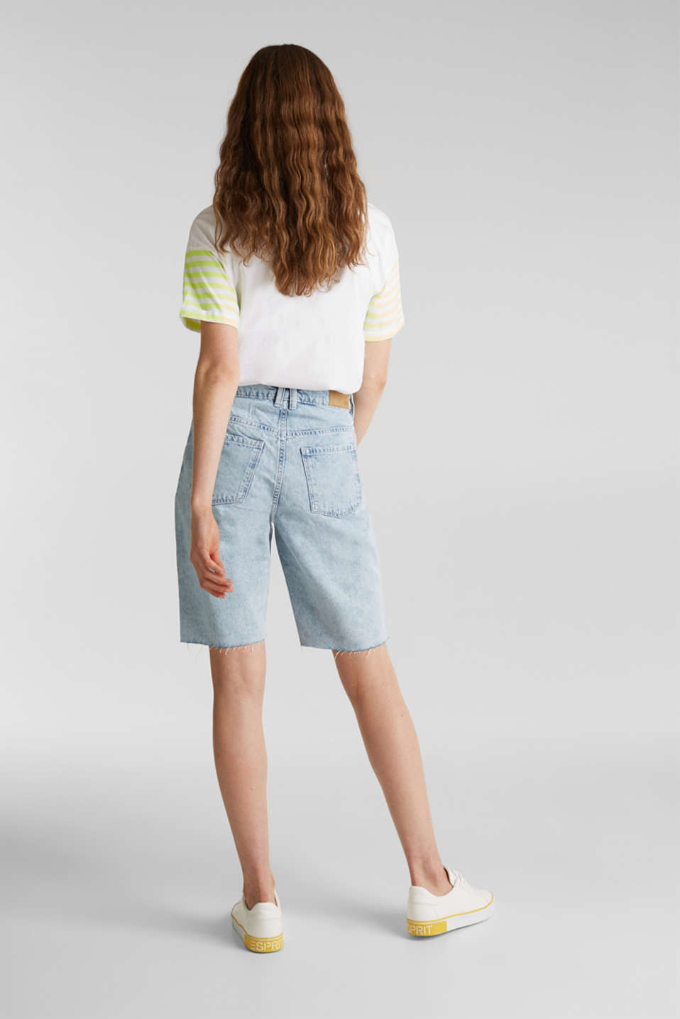 Denim Bermudas with frayed hems, BLUE BLEACHED, detail image number 3