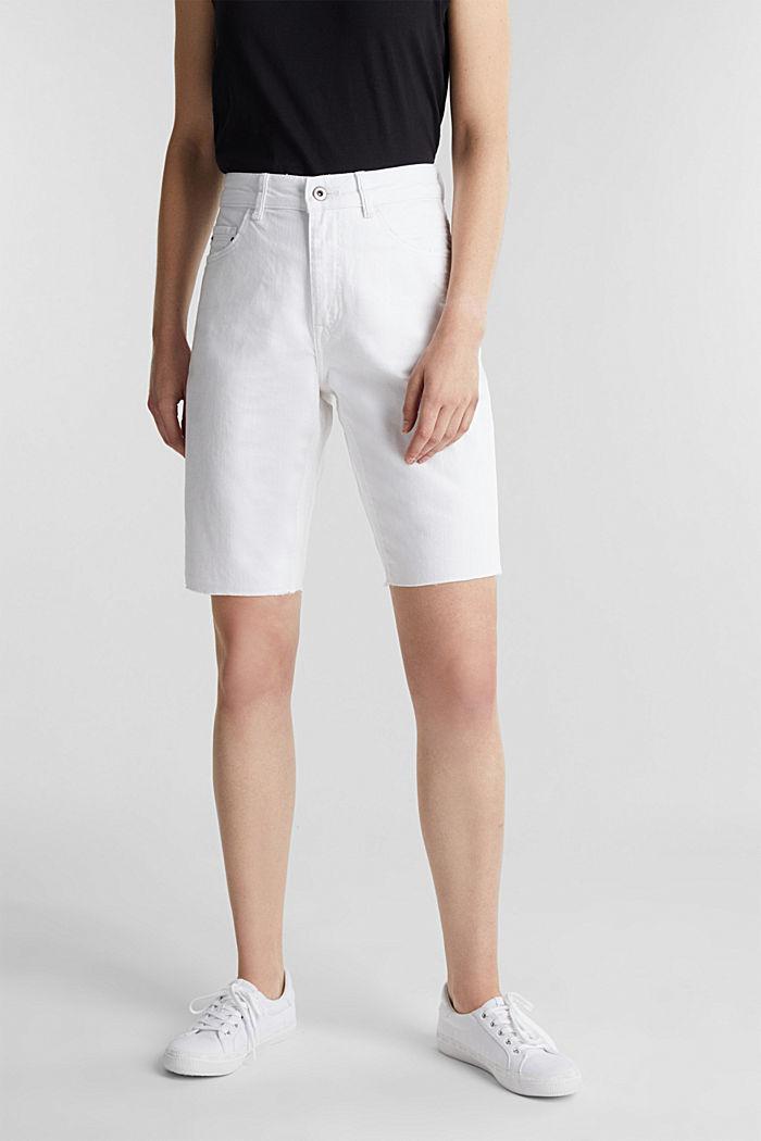 Shorts vaqueros de algodón, WHITE, detail image number 0