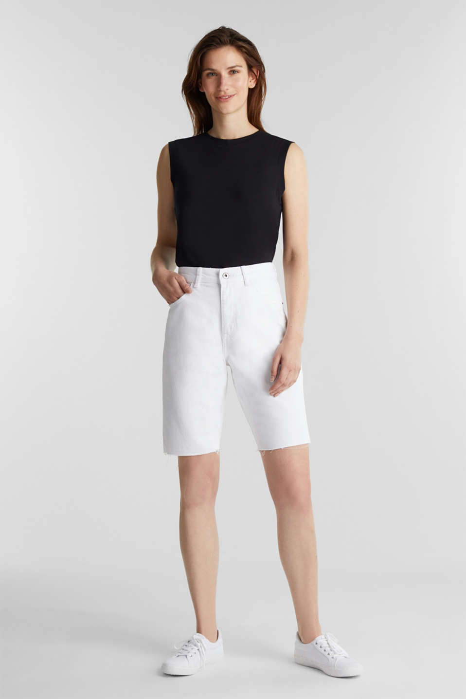 Cotton denim shorts, WHITE, detail image number 1