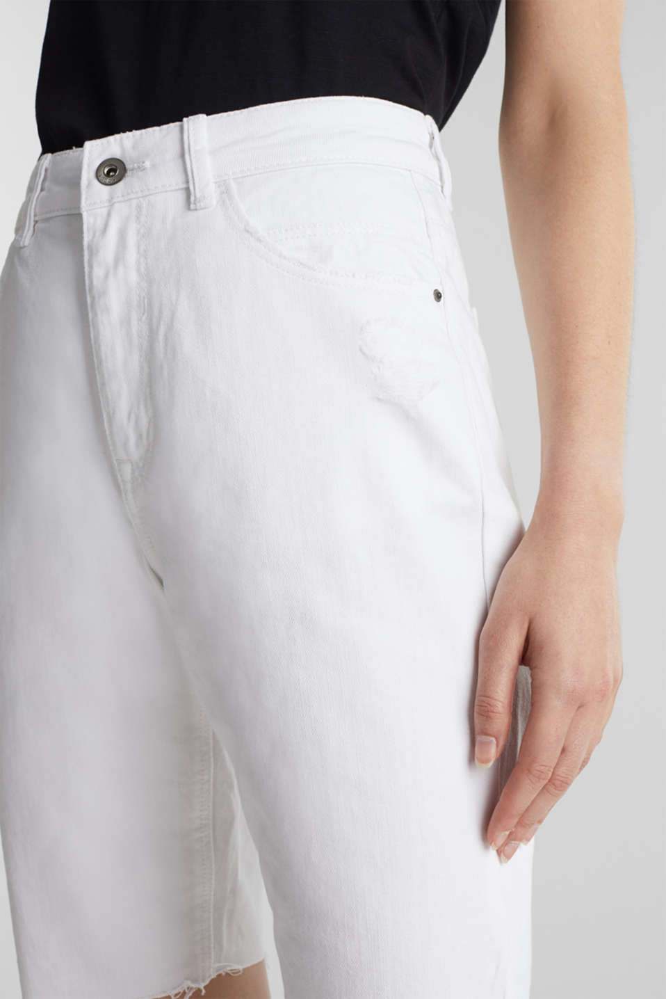 Cotton denim shorts, WHITE, detail image number 5