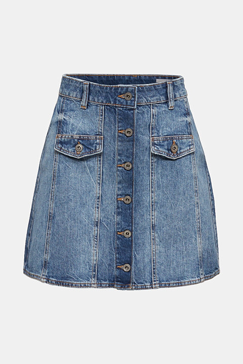 Flared denim skirt with a button placket