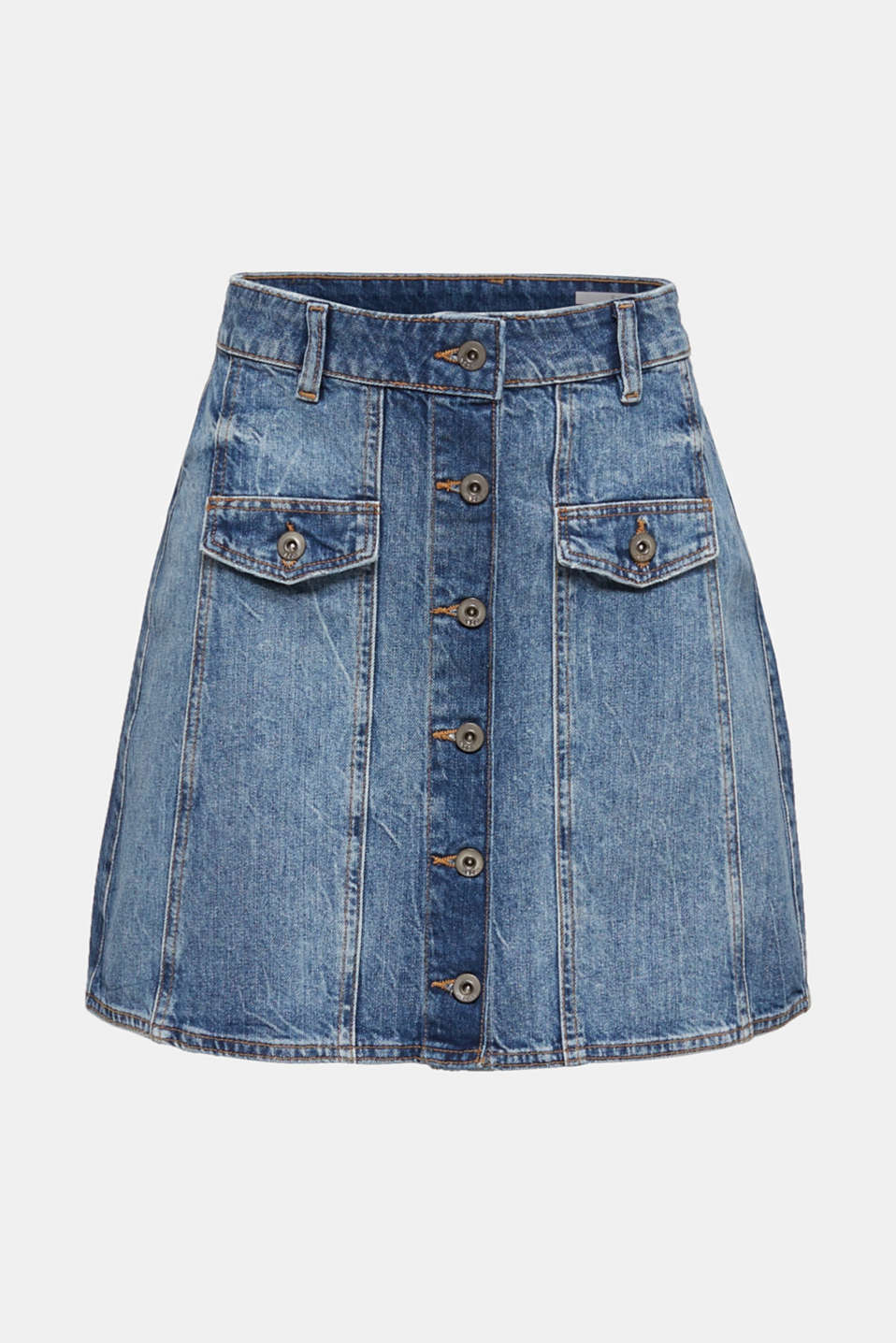 Flared denim skirt with a button placket, BLUE MEDIUM WASH, detail image number 5