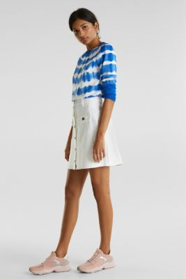 Denim skirt with a button placket, WHITE, detail
