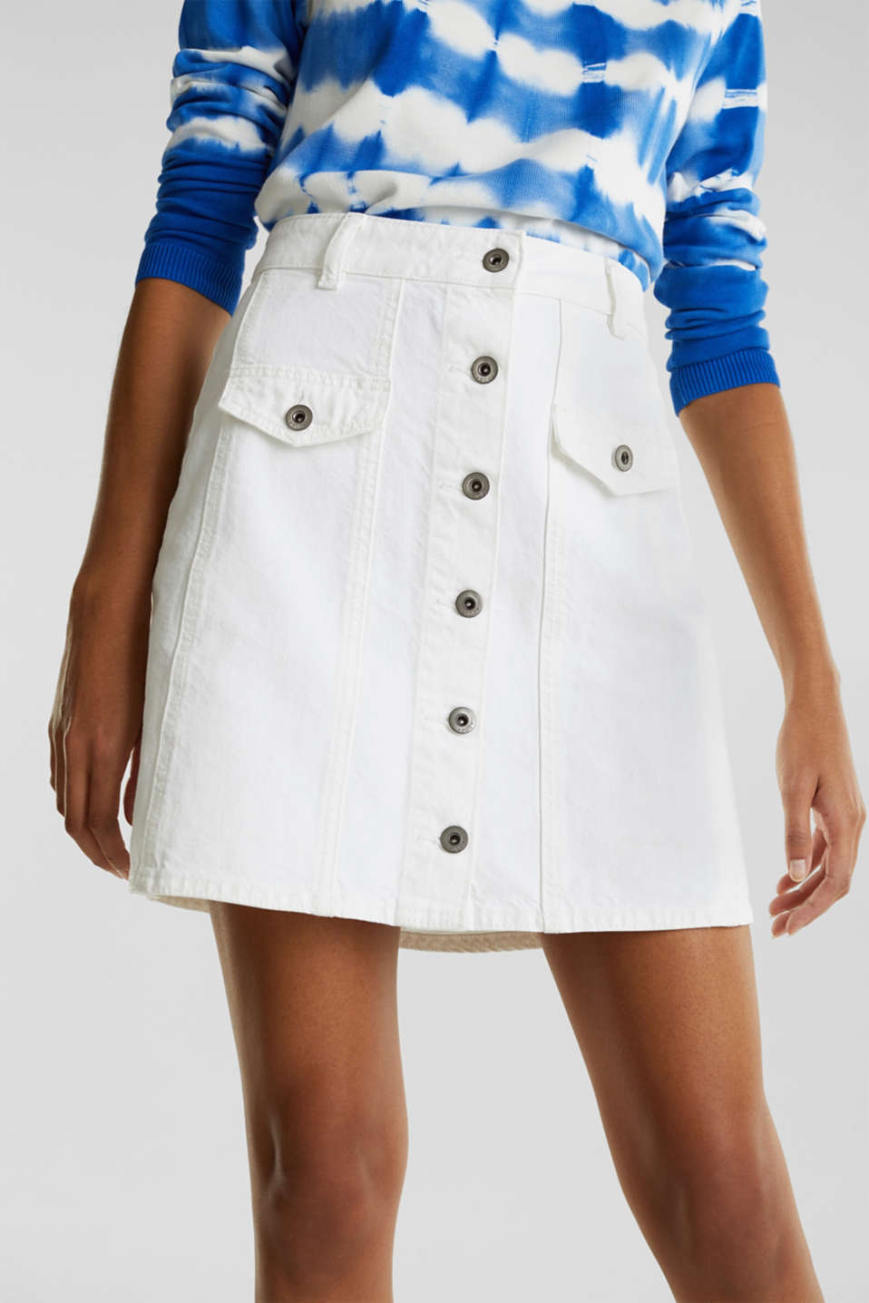 Denim skirt with a button placket, WHITE, detail image number 2