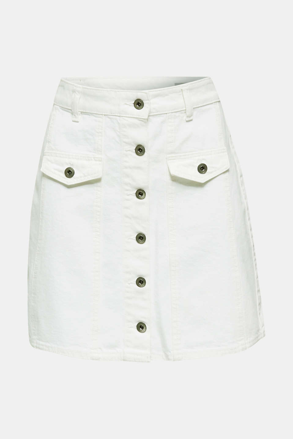 Denim skirt with a button placket, WHITE, detail image number 7