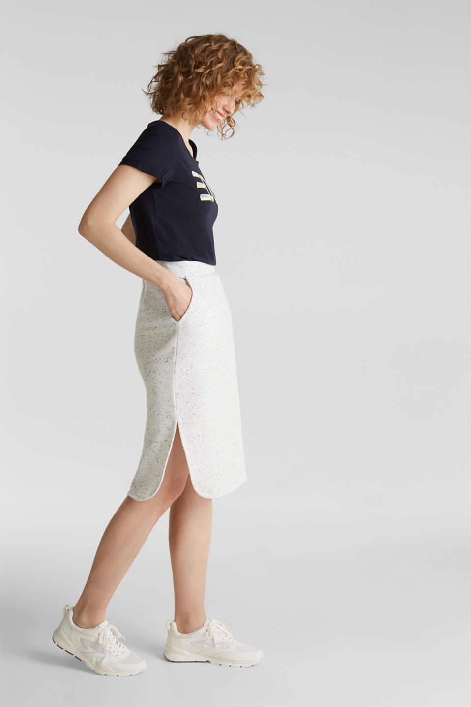 Sweatshirt skirt in a salt-and-pepper look, LIGHT GREY 5, detail