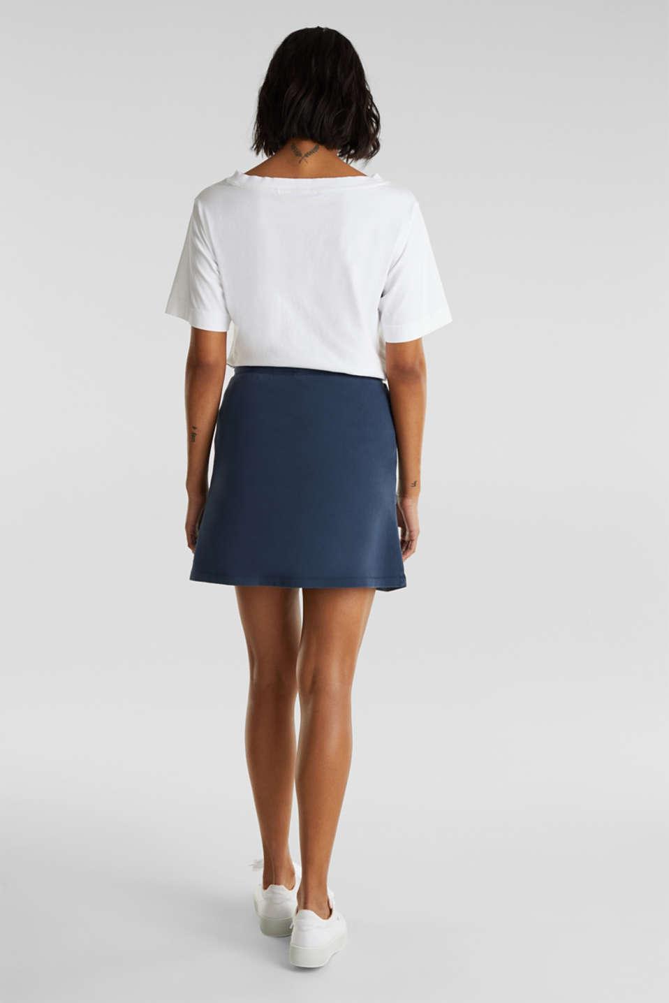 Sweatshirt fabric skirt made of cotton, NAVY, detail image number 3