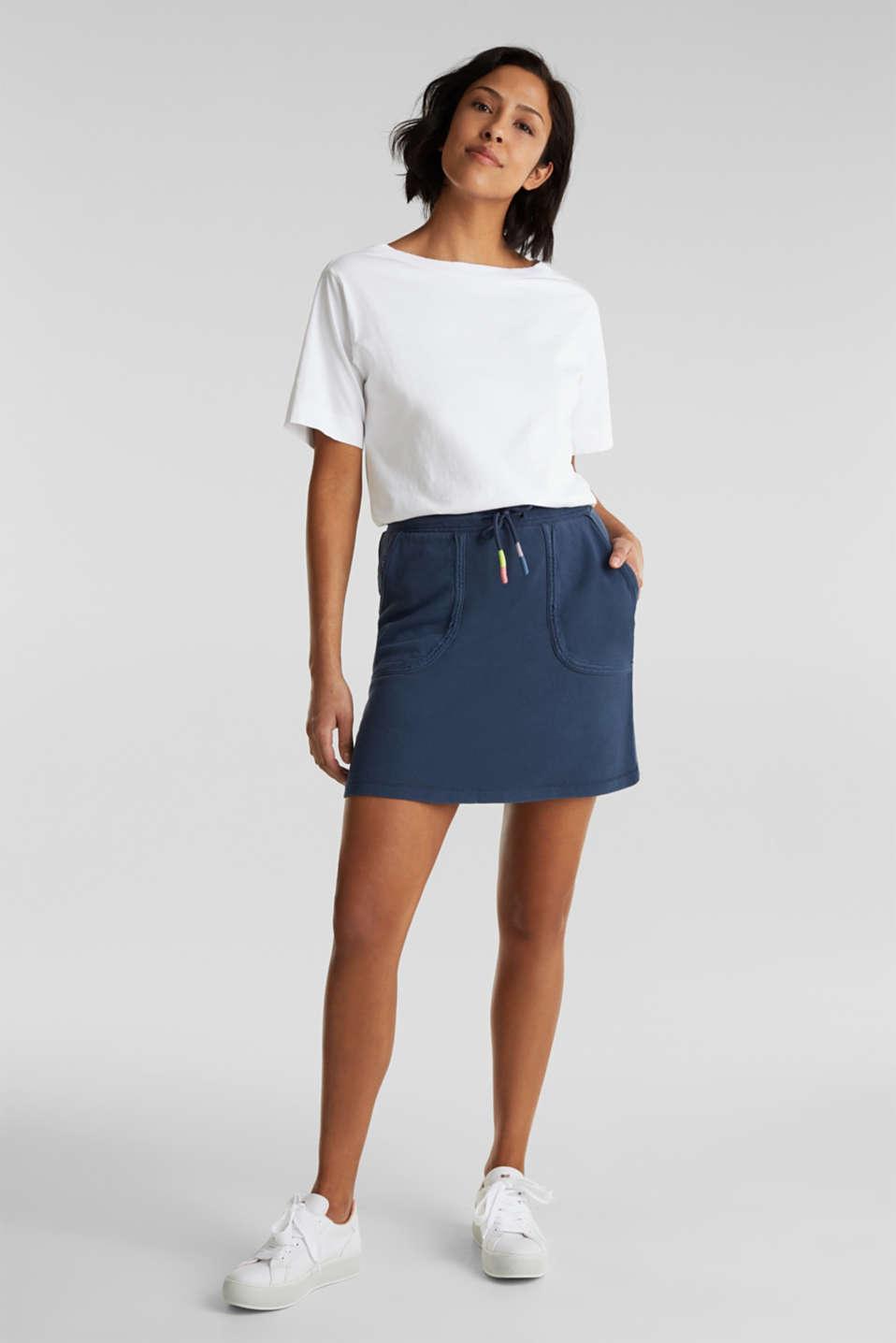 Sweatshirt fabric skirt made of cotton, NAVY, detail image number 1