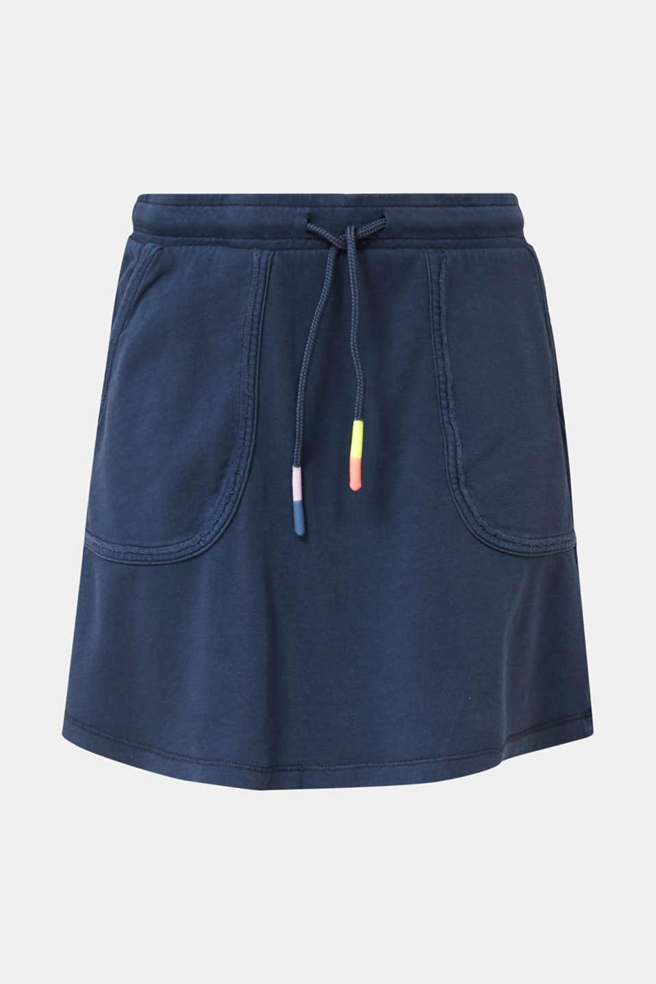 Sweatshirt fabric skirt made of cotton, NAVY, detail image number 5