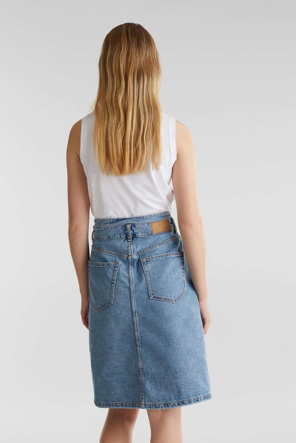 Denim skirt with neon details, BLUE MEDIUM WASH, detail image number 3