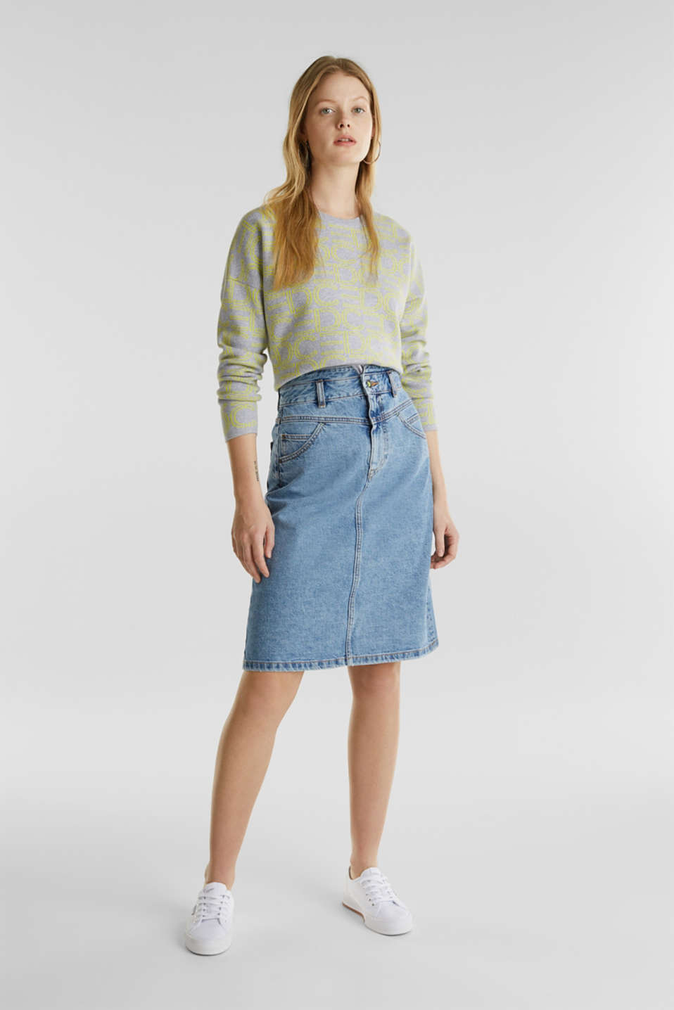 Denim skirt with neon details, BLUE MEDIUM WASH, detail image number 1