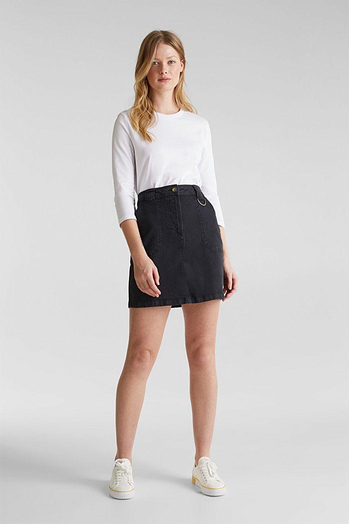 Dżinsowa spódnica z kieszeniami, BLACK, detail image number 0