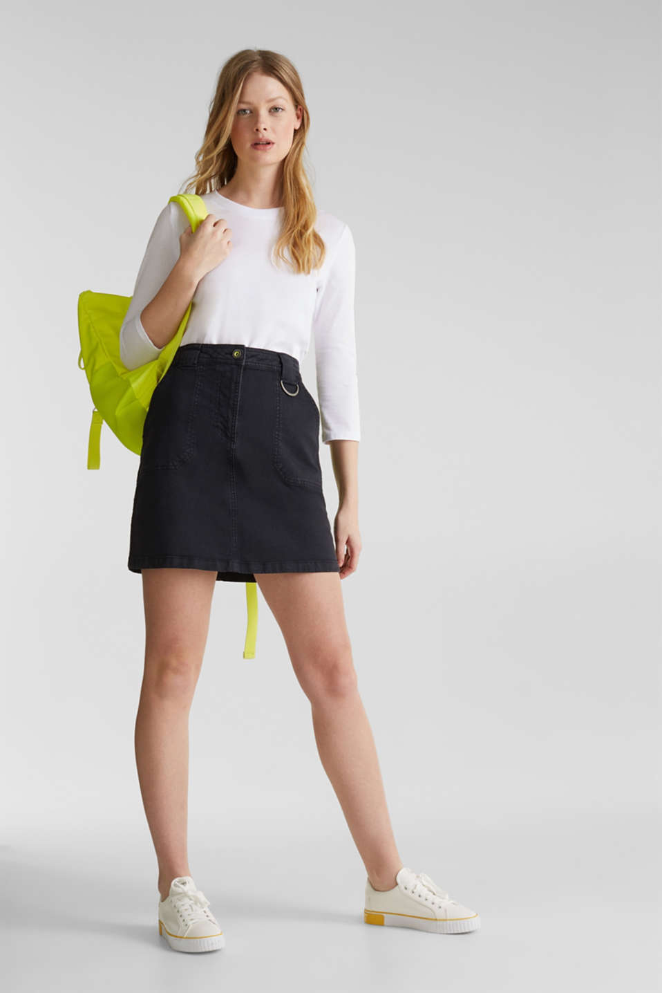 edc - Coloured denim skirt with large front pockets