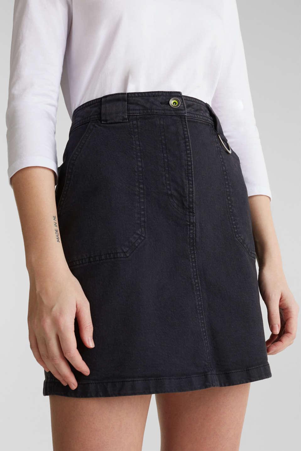 Coloured denim skirt with large front pockets, BLACK, detail image number 2