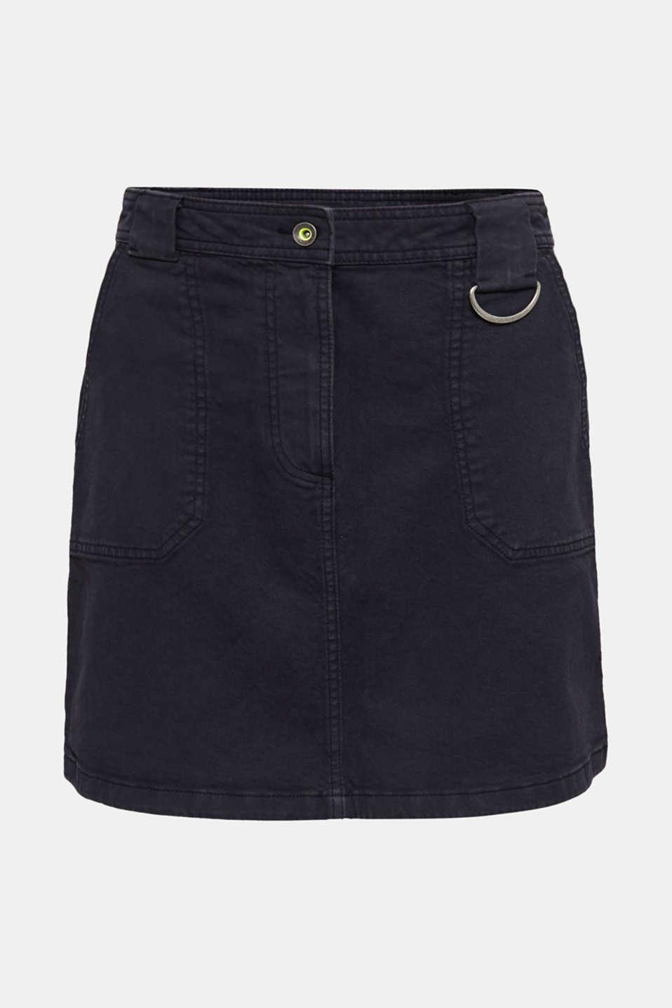 Coloured denim skirt with large front pockets, BLACK, detail image number 5
