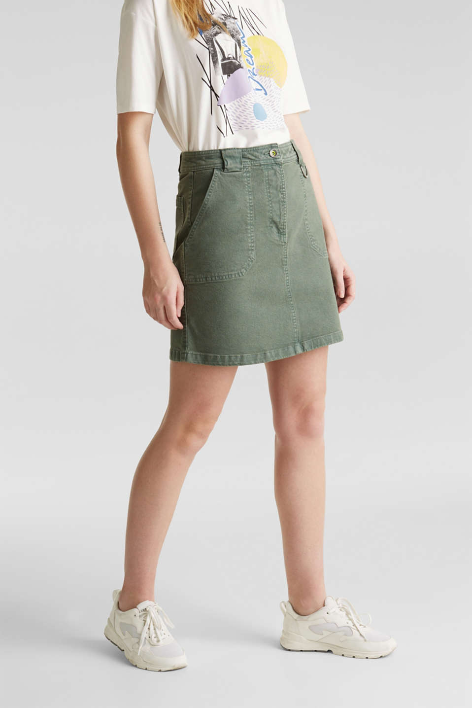 Denim skirt with pockets, KHAKI GREEN, detail image number 6