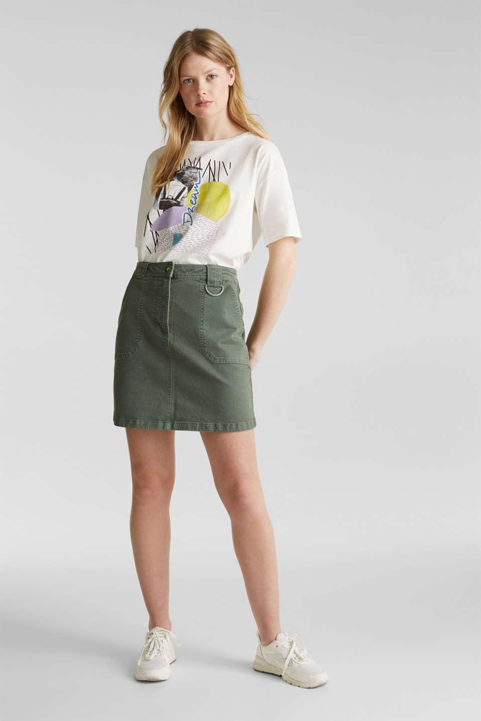 Denim skirt with pockets, KHAKI GREEN, detail image number 1