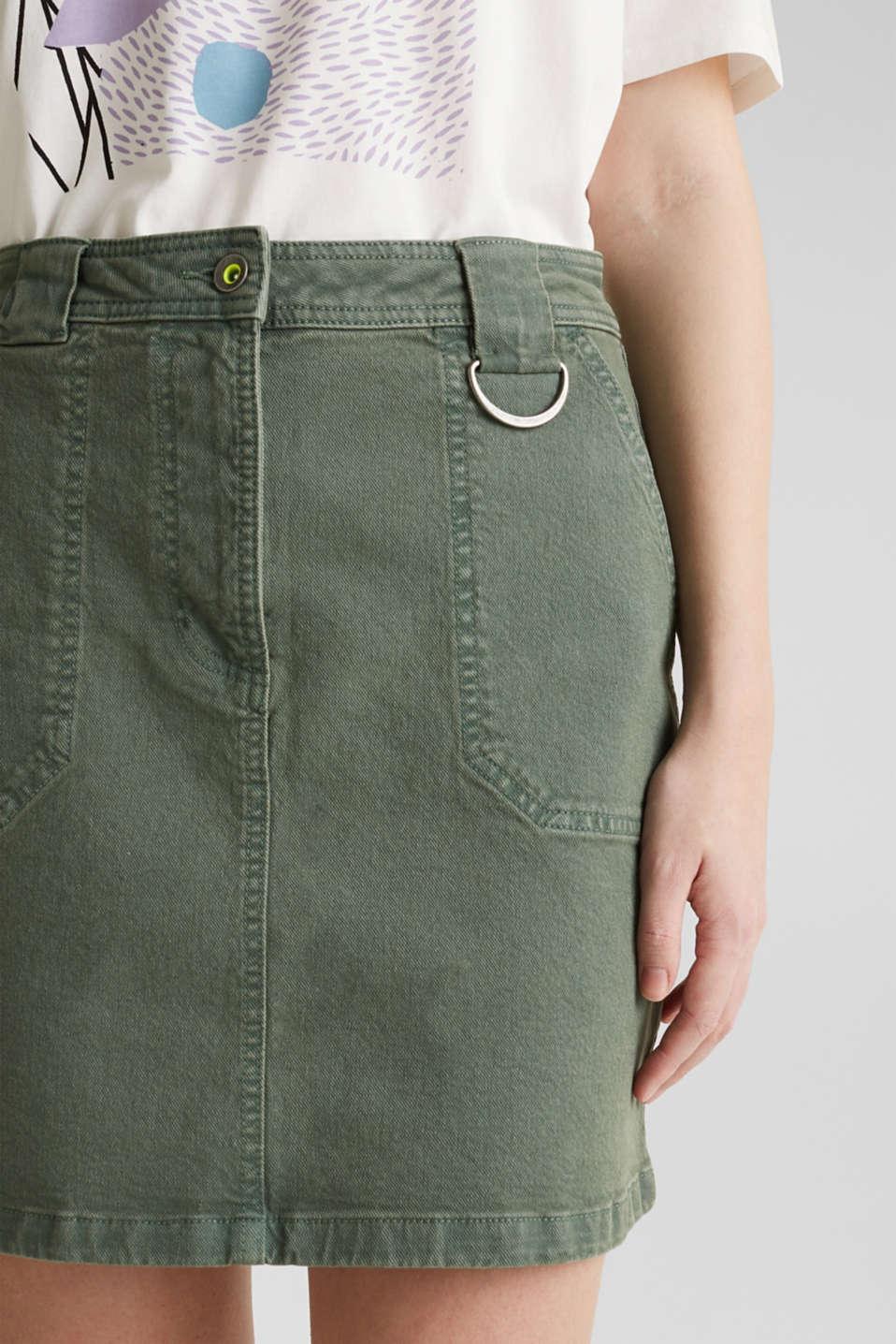 Denim skirt with pockets, KHAKI GREEN, detail image number 2