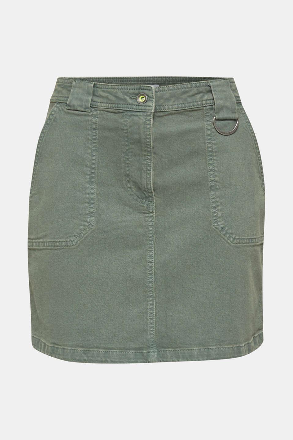 Denim skirt with pockets, KHAKI GREEN, detail image number 7